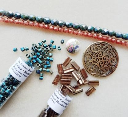 Six antique Czech beads V 374